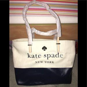 NWT Kate Spade Lott Street Francis Navy Linen Tote